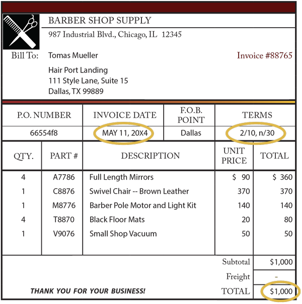 Barber Terms : ... discount , a check for $980 would be received by Barber Shop Supply