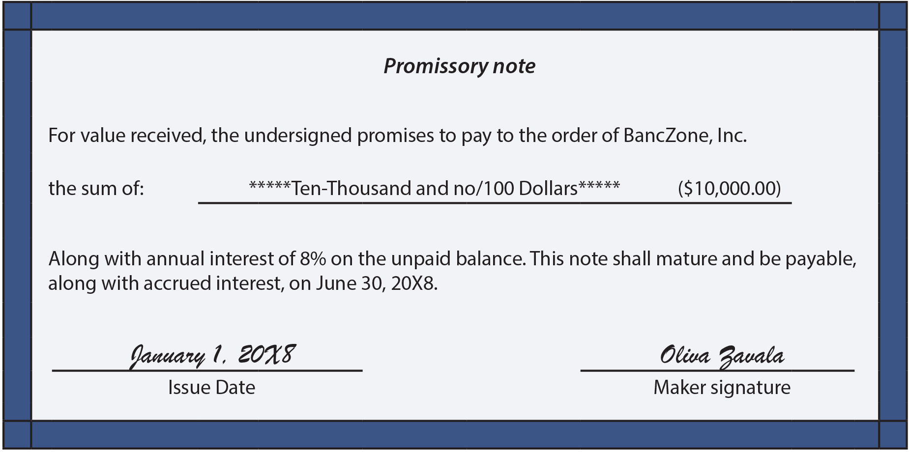 Promissory Note Example  Examples Of Promissory Note