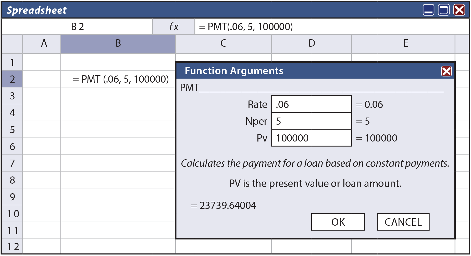 Present Value Spreadsheet Example