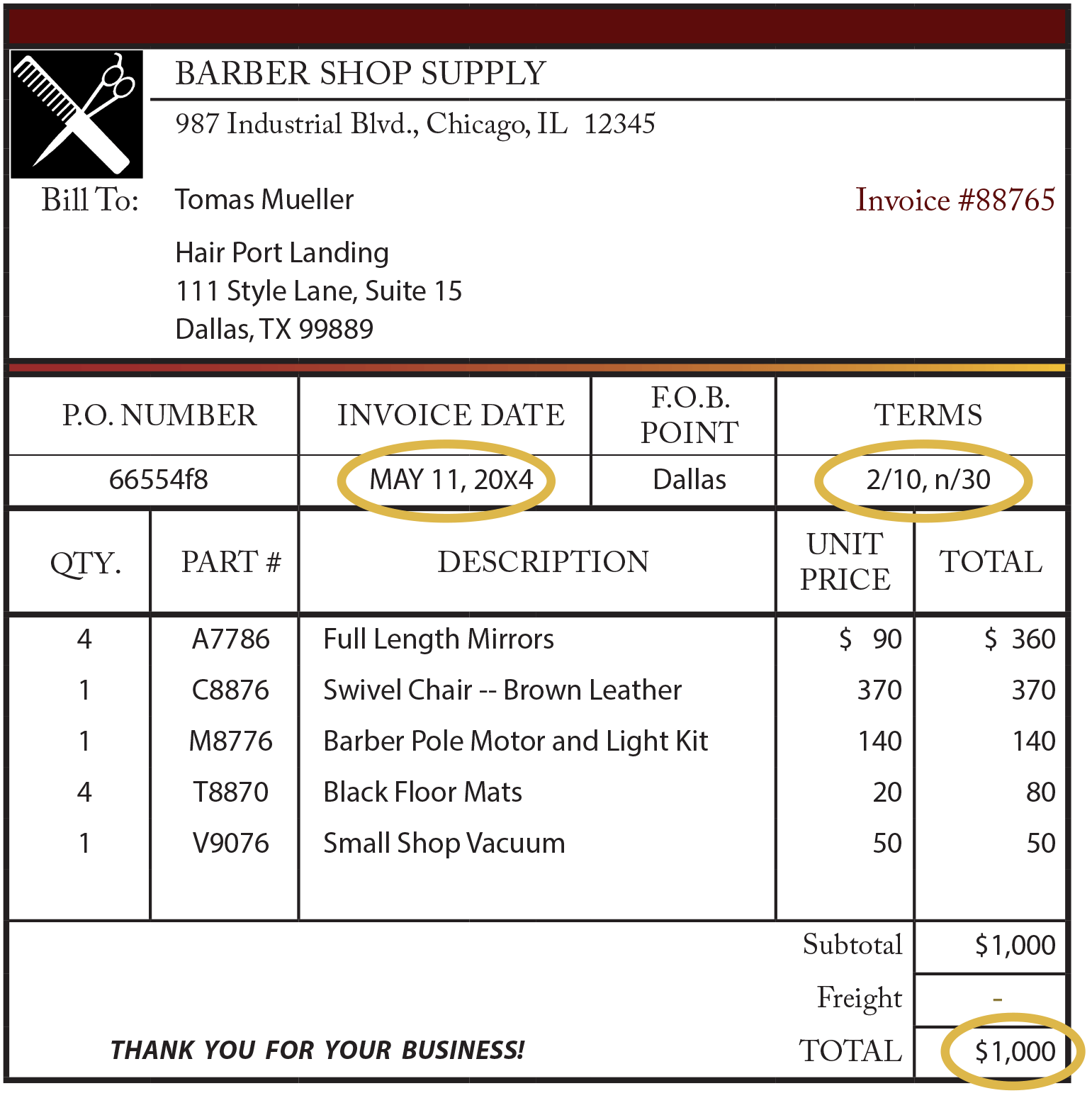 Invoice receipt template