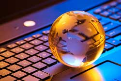 Keyboard with globe image